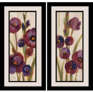 Frosted Bloom in Neutral 2 Piece Framed Painting Print Set on Wrapped Canvas by Star Creations