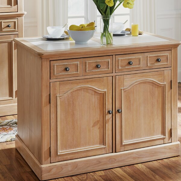 Romford Kitchen Island with Granite Top by Three Posts