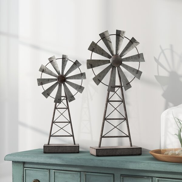 Gobert Windmill 2 Piece Sculpture Set by Laurel Foundry Modern Farmhouse