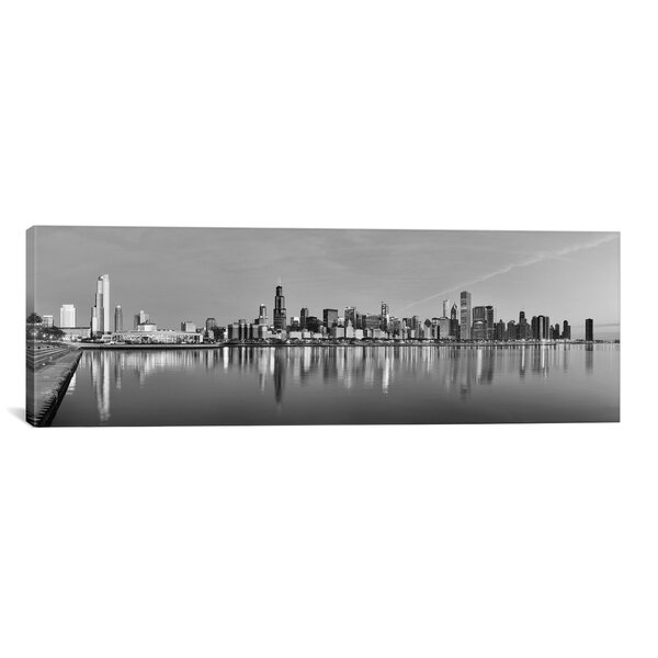 Chicago Panoramic Skyline Cityscape Photographic Print on Canvas in Black and White by iCanvas
