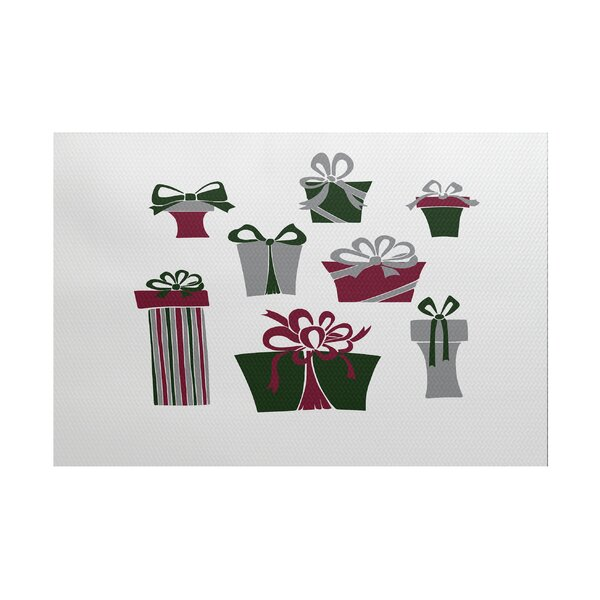Present Time White/Green Indoor/Outdoor Area Rug by The Holiday Aisle