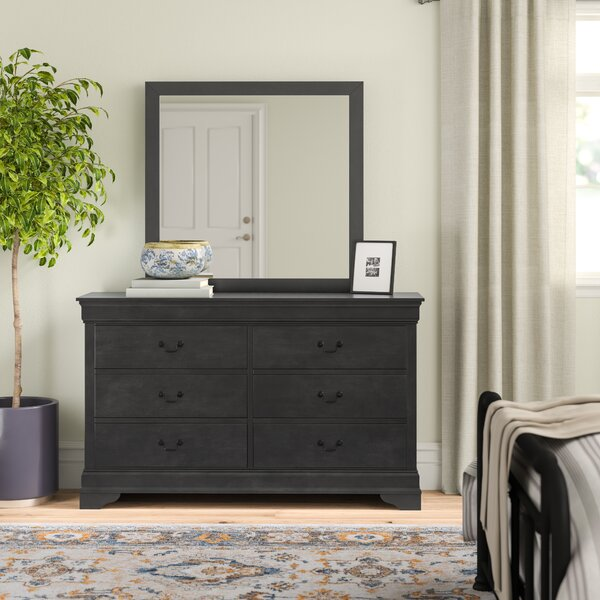 Kepley 6 Drawer Double Dresser with Mirror by Three Posts