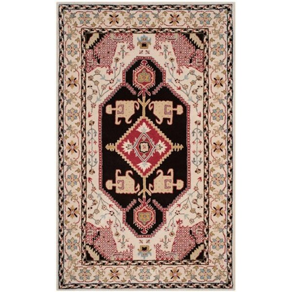 Blokzijl Hand-Tufted Beige/Black Area Rug by Bungalow Rose
