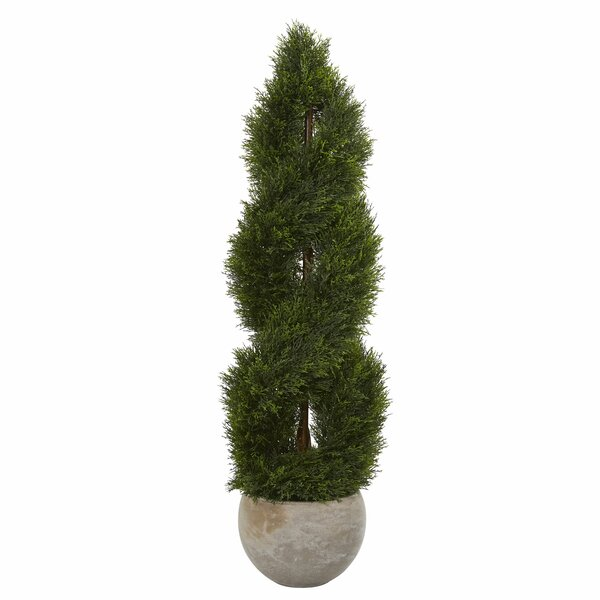 Double Pond Spiral Artificial Floor Cypress Tree in Planter by 17 Stories