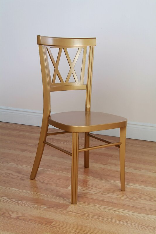 Double X Stackable Solid Wood Dining Chair