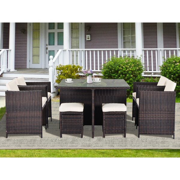 Anjna 9 Piece Rattan Complete Patio Set with Cushions
