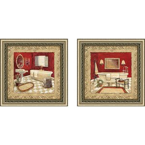 Salon Rouge' 2 Piece Framed Acrylic Painting Print Set Under Glass by Astoria Grand