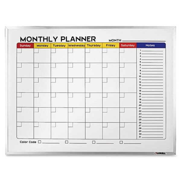Dry-Erase Wall Mounted Calendar/Planner Whiteboard by Lorell