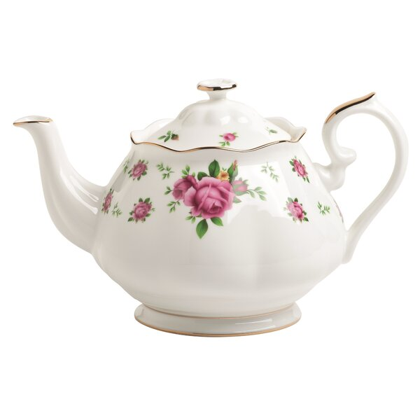 New Country Roses 1.32-qt. Formal Vintage Teapot by Royal Albert