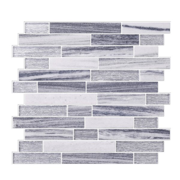 Modern Sleek Mixed Tile in Gray/White by Byzantin Mosaic