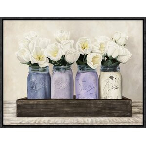'Tulips in Mason Jars' by Thomlinson Framed Painting Print by Global Gallery