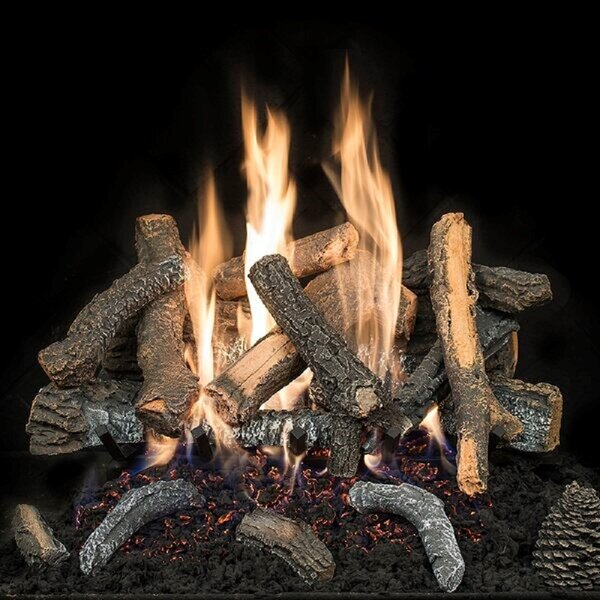 Cascade Char Stack Vented Natural Gas/Propane Fireplace Log Set By HargroveGasLogs