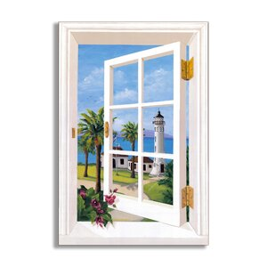 Point Vincente Lighthouse Faux Window Scene Wall Plaque by Stupell Industries