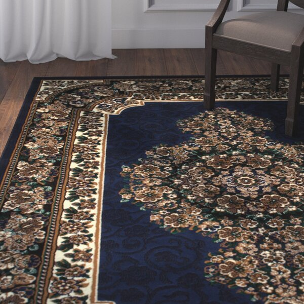 Arkin High-Quality Floral Double Shot Drop-Stitch Carving Navy Area Rug by Astoria Grand