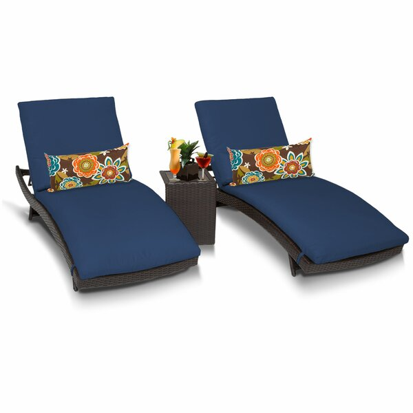 Medley Sun Lounger Set with Cushions and Table (Set of 2) by Rosecliff Heights