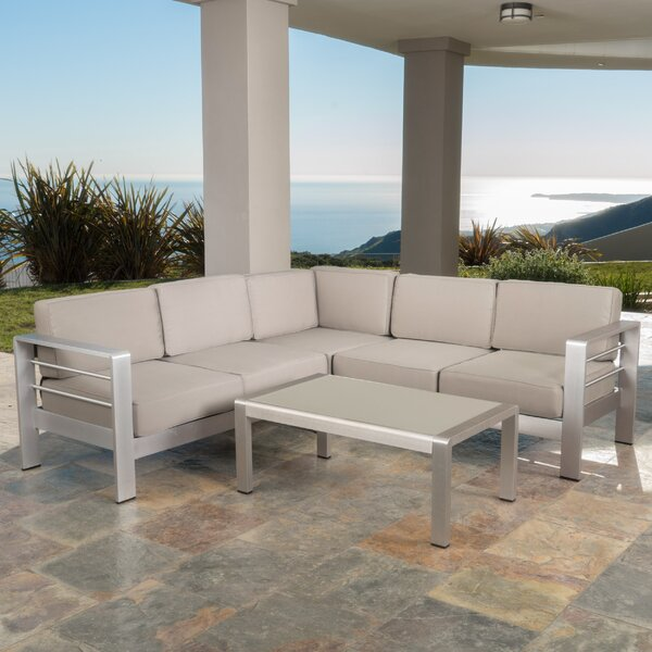 Royalston 4 Piece Sectional Seating Group with Cushions by Brayden Studio