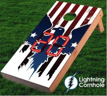 Electronic Scoring Eagle and Stripes Cornhole Board by Lightning Cornhole