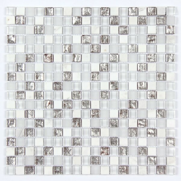 Square Clear and Frosted and Rippled 12 x 12 Glass and Stone Blend Mosaic Tile in White by Seven Seas