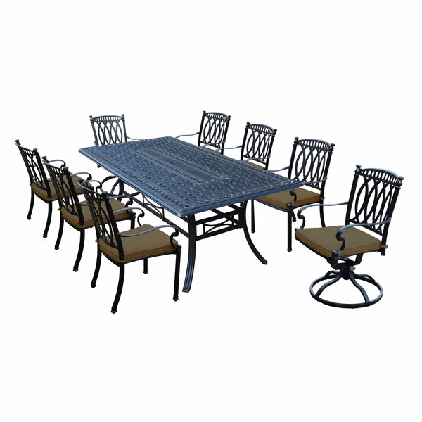 Morocco Aluminum 9 Piece Dining Set with Cushions by Oakland Living