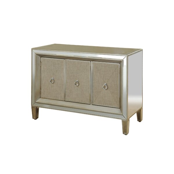 Monsour Mirrored 3 Door Accent Cabinet by House of Hampton