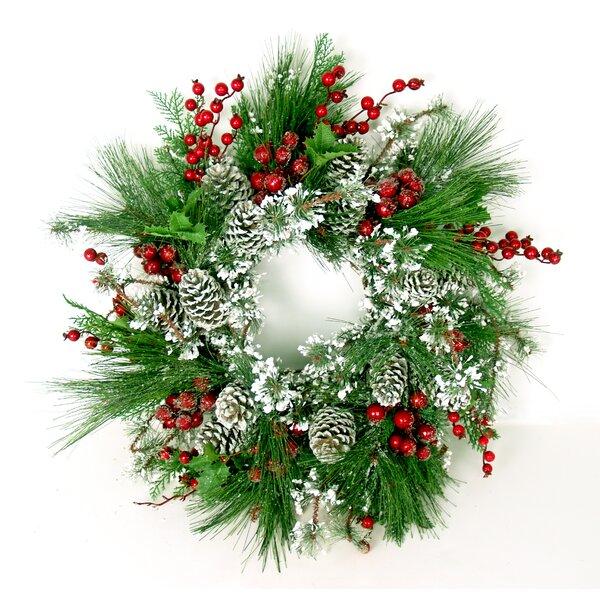 Snowflocked Pine Wreath with Iced Berries by Creative Displays, Inc.