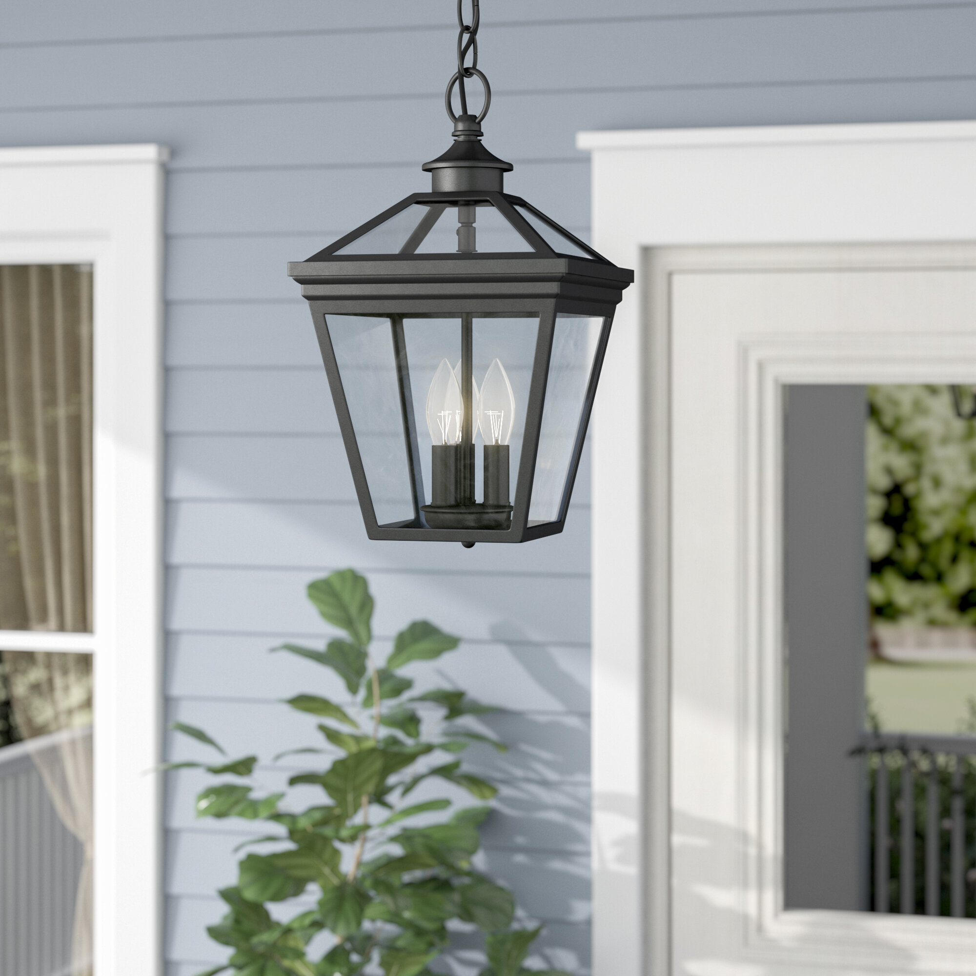 outdoor hanging porch lights exterior darby home co coleg 3light outdoor hanging lantern reviews wayfair