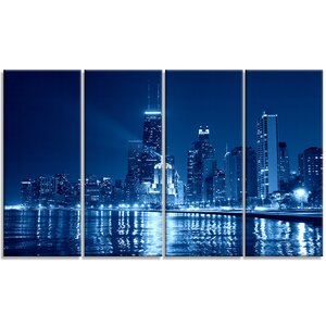 Chicago Skyline Night - Cityscape 4 Piece Photographic Print on Wrapped Canvas Set by Design Art