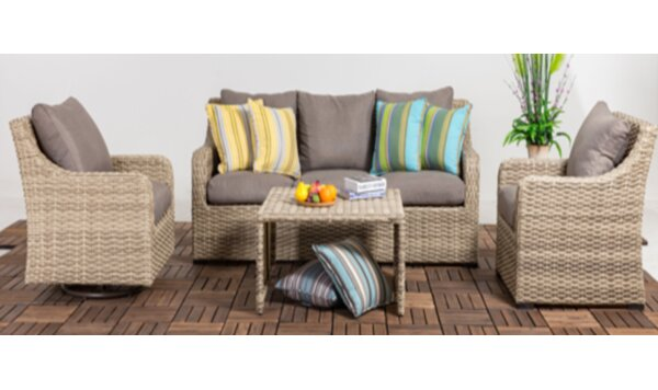 Delarosa Patio 6 Piece Rattan Sofa Seating Group with Cushions by Rosecliff Heights