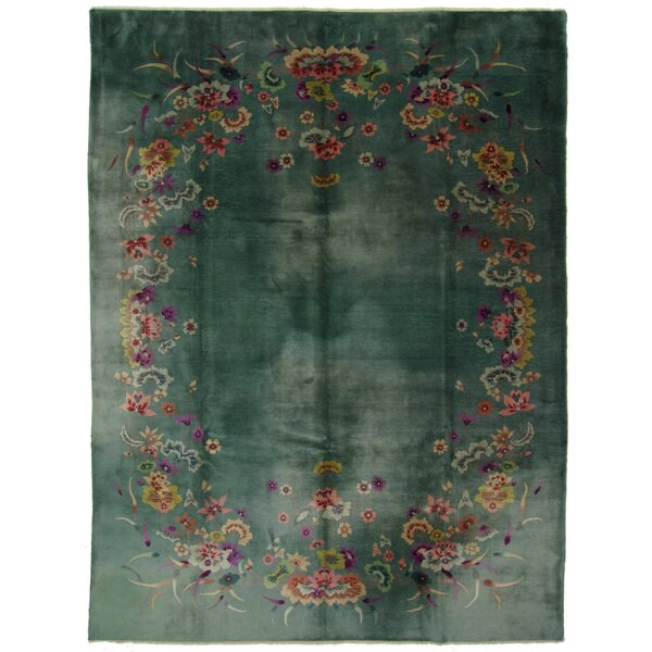 One-of-a-Kind Hand-Woven Wool Green/Pink Area Rug by Exquisite Rugs