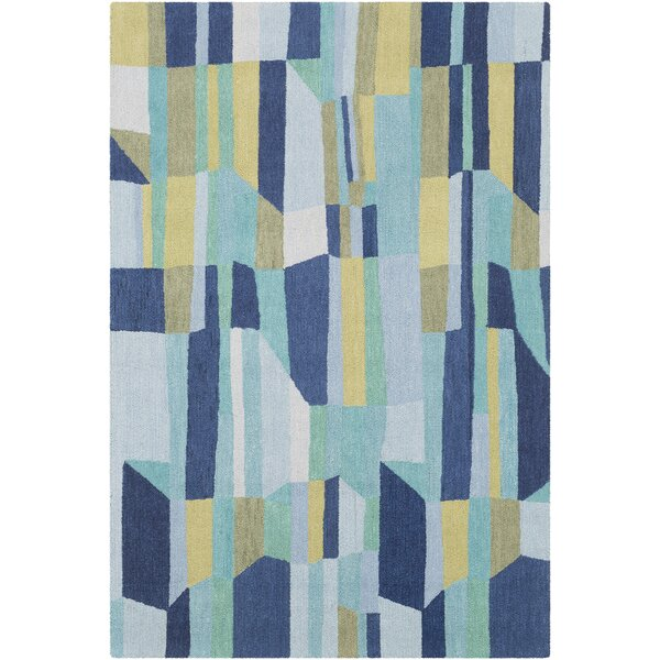 Axelle Hand Tufted Wool Blue/Denim Area Rug by Ebern Designs