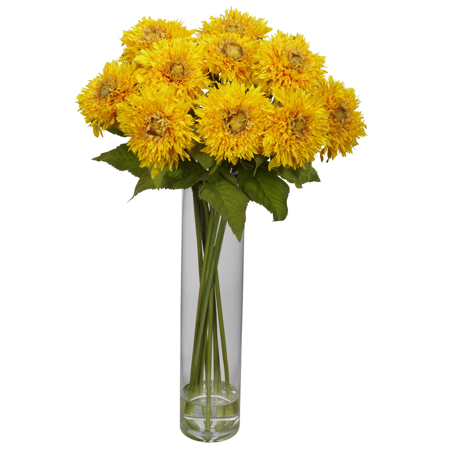August Grove Sunflower With Cylinder Silk Flower Arrangement In