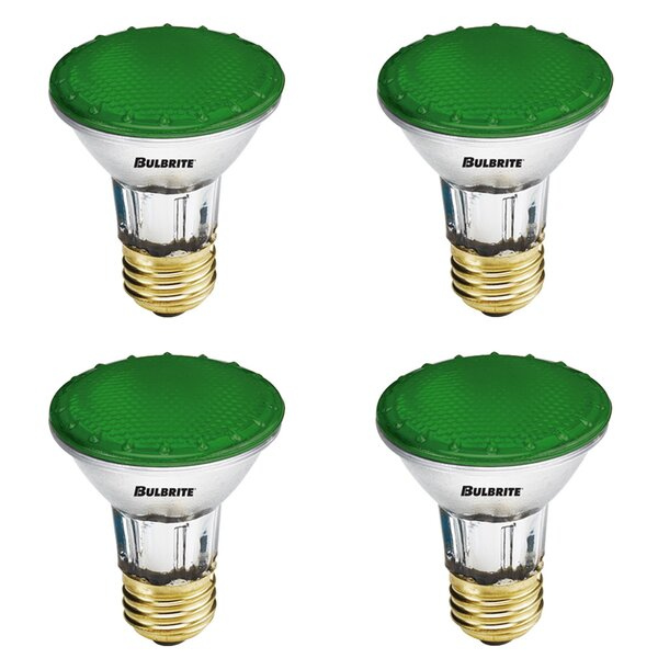 50W E26 Dimmable Halogen Light Bulb Green (Set of 4) by Bulbrite Industries
