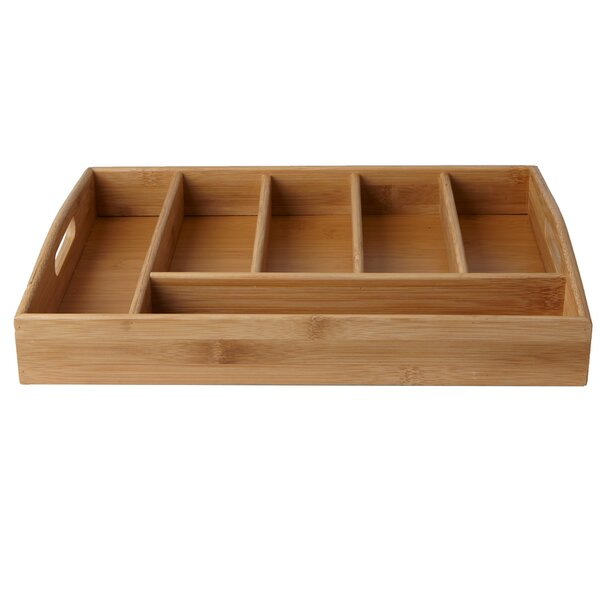 Serve 6 Compartment Bamboo Condiment Storage with Handles by Mind Reader