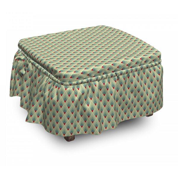 Geometric Mountain Shape Art 2 Piece Box Cushion Ottoman Slipcover Set By East Urban Home