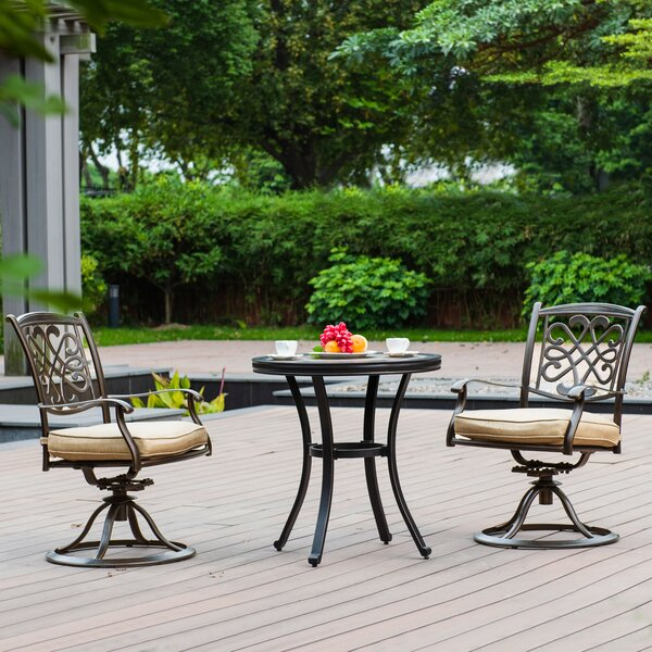 Harned Patio 3 Piece Bistro Set with Cushion by Fleur De Lis Living
