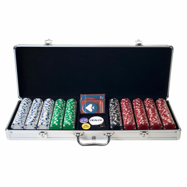 500 Dice-Striped Chips in Aluminum Case by Trademark Global