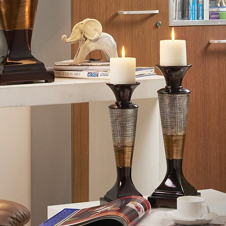 Grove Hill 2 Piece Resin Candlestick Set by Blooms