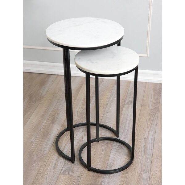 Outdoor Furniture Cruxanne Marble Top Frame Nesting Tables