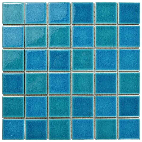 "Enclave 1.88"" x 1.88"" Porcelain Mosaic Tile in Blue/Teal by EliteTile"