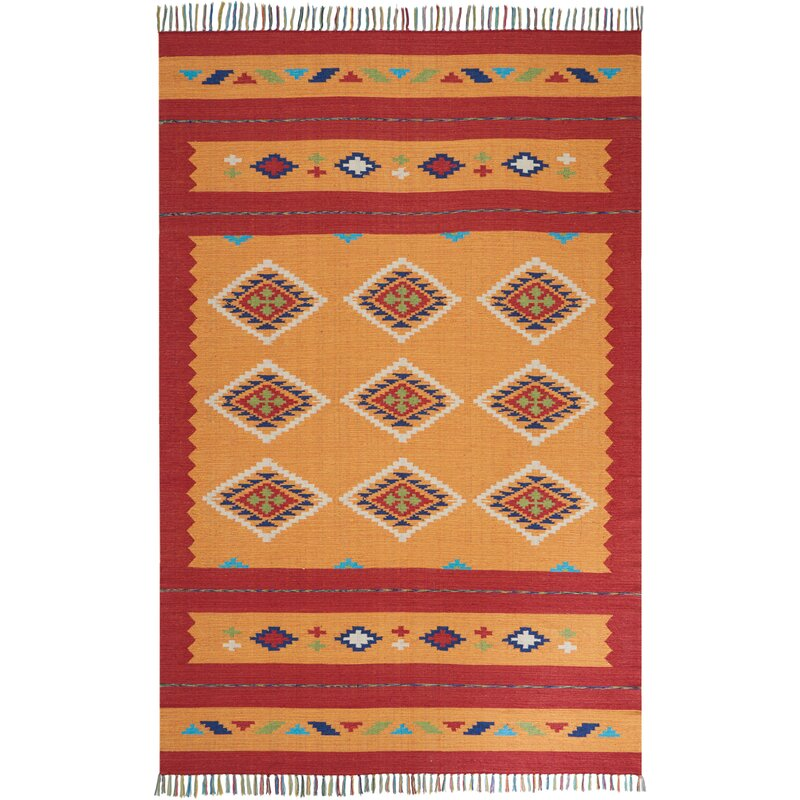 Bungalow Rose Noble Hand Woven Yellow Red Area Rug Reviews Wayfair