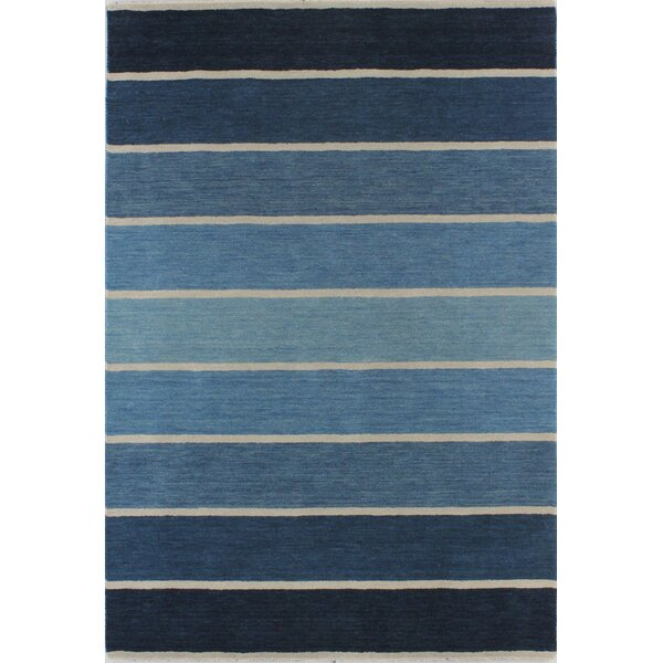 Hawkinson Hand-Woven Wool Blue Area Rug by Ebern Designs