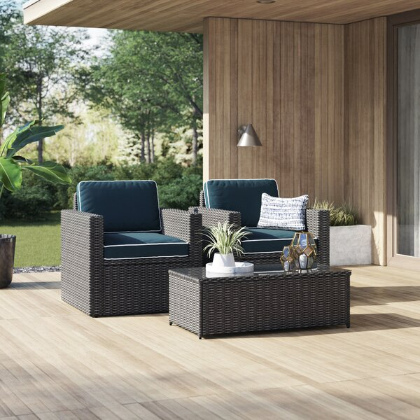Belton 3 Piece Rattan Seating Group with Cushions by Mercury Row