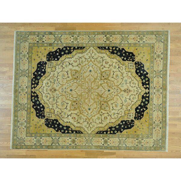 One-of-a-Kind Bilger Sarouk Fereghan Hand-Knotted Beige Wool Area Rug by Isabelline
