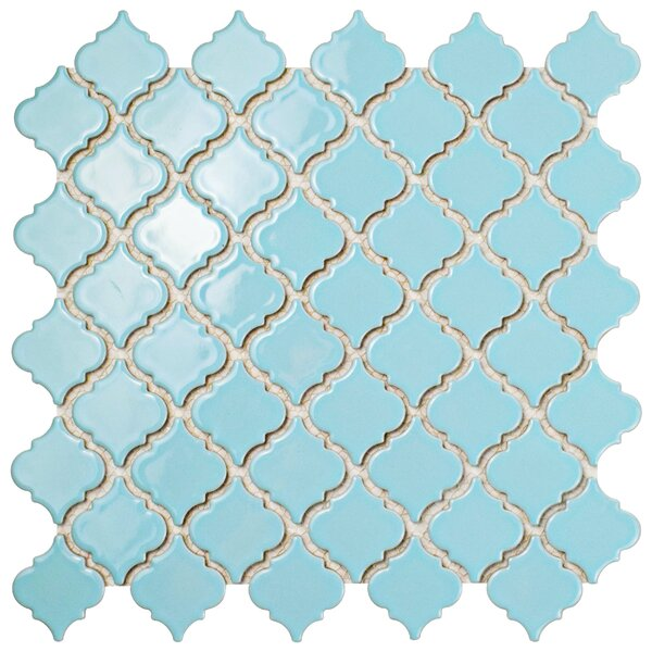 Pharsalia 12.38 x 12.5 Porcelain Mosaic Floor and Wall Tile in Cashmere Blue by EliteTile