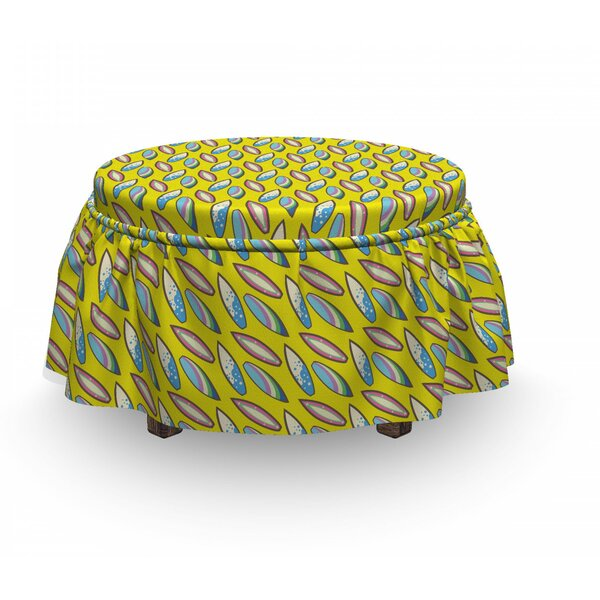 Surfboard Summertime Hobby 2 Piece Box Cushion Ottoman Slipcover Set By East Urban Home