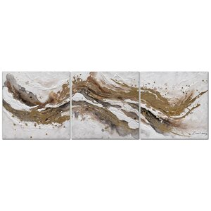 'River of Gold' 3 Piece Oil Painting Print Set on Canvas by Tangletown Fine Art