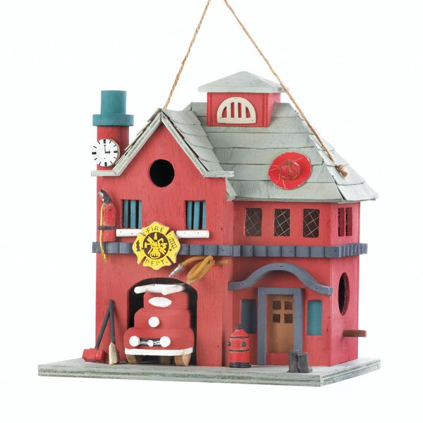 Fire Station 10 in x 9 in x 7.25 in Birdhouse by Zingz & Thingz