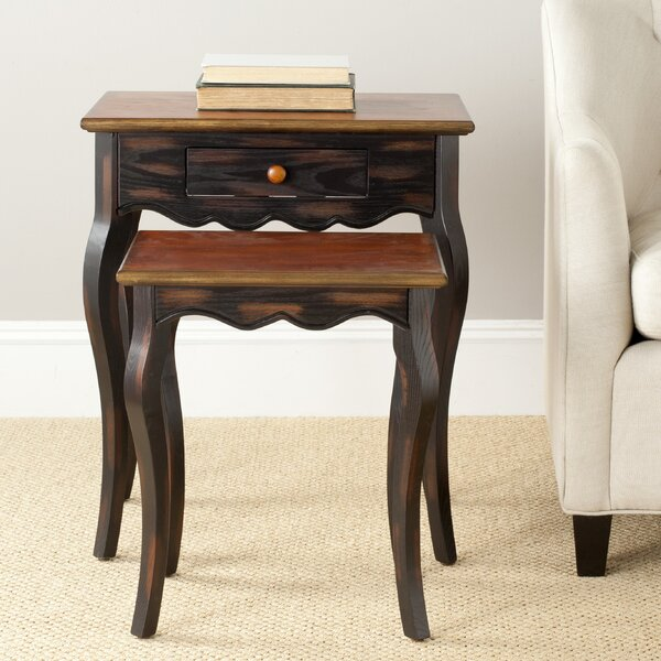 Swayze Solid Wood 4 Legs 1 Drawer Nesting Tables With Storage By August Grove