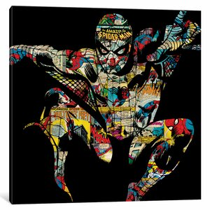 'Marvel Comics Retro Spider-Man' by Marvel Comics Graphic Art on Wrapped Canvas by iCanvas