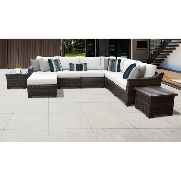 River Brook 9 Piece Outdoor Wicker Patio Furniture Set 09b by kathy ireland Homes & Gardens by TK Classics